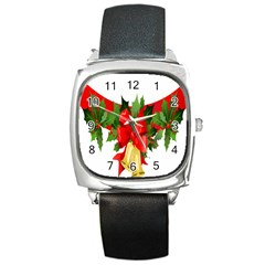 Christmas Clip Art Banners Clipart Best Square Metal Watch