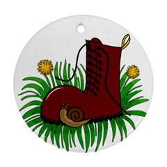 Boot in the grass Ornament (Round)