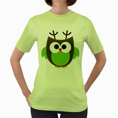 Clip Art Animals Owl Women s Green T Shirt
