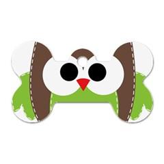 Clip Art Animals Owl Dog Tag Bone (one Side)