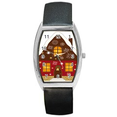 Christmas House Clipart Barrel Style Metal Watch
