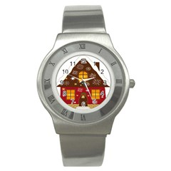 Christmas House Clipart Stainless Steel Watch