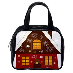 Christmas House Clipart Classic Handbags (one Side)