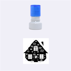 Christmas House Clipart Rubber Round Stamps (Small)