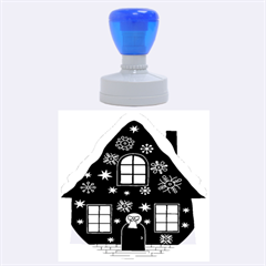 Christmas House Clipart Rubber Round Stamps (large)