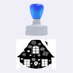 Christmas House Clipart Rubber Oval Stamps