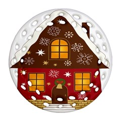Christmas House Clipart Ornament (round Filigree)
