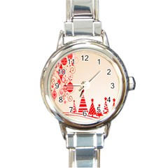 Christmas Clipart Wallpaper Round Italian Charm Watch