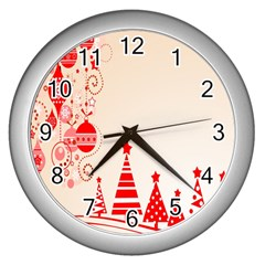 Christmas Clipart Wallpaper Wall Clocks (silver)