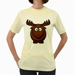 Elk Clip Art Reindeer Raindeer Elk Christmas Xmas Women s Yellow T Shirt