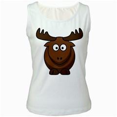 Elk Clip Art Reindeer Raindeer Elk Christmas Xmas Women s White Tank Top
