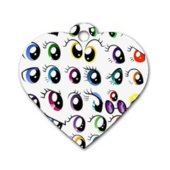 Eyes  Pattern Dog Tag Heart (two Sides)