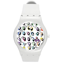 Eyes  Pattern Round Plastic Sport Watch (m)