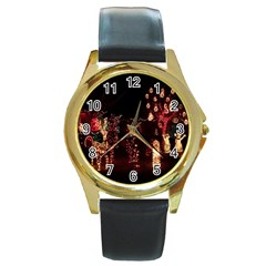 Holiday Lights Christmas Yard Decorations Round Gold Metal Watch