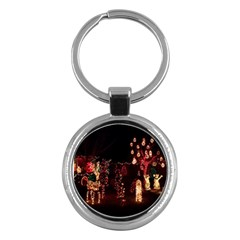 Holiday Lights Christmas Yard Decorations Key Chains (round)