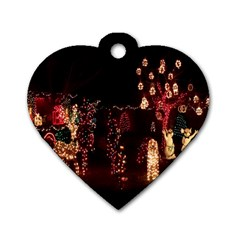 Holiday Lights Christmas Yard Decorations Dog Tag Heart (two Sides)