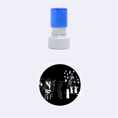 Holiday Lights Christmas Yard Decorations Rubber Round Stamps (Small)