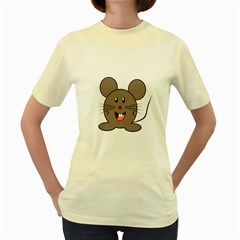 Raton Mouse Christmas Xmas Stuffed Animal Women s Yellow T Shirt