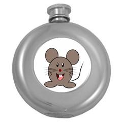 Raton Mouse Christmas Xmas Stuffed Animal Round Hip Flask (5 Oz)