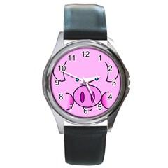 Pink Pig Christmas Xmas Stuffed Animal Round Metal Watch