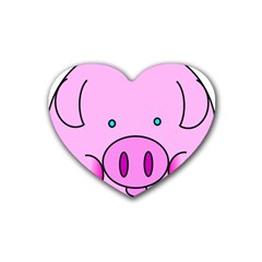 Pink Pig Christmas Xmas Stuffed Animal Heart Coaster (4 Pack)