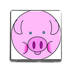 Pink Pig Christmas Xmas Stuffed Animal Memory Card Reader (square)