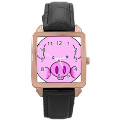 Pink Pig Christmas Xmas Stuffed Animal Rose Gold Leather Watch