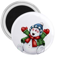 Snowman With Scarf 3  Magnets