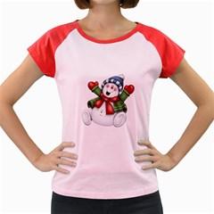 Snowman With Scarf Women s Cap Sleeve T Shirt