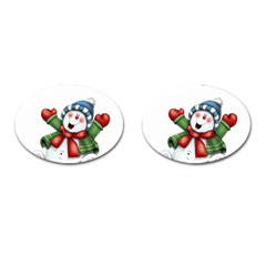Snowman With Scarf Cufflinks (oval)