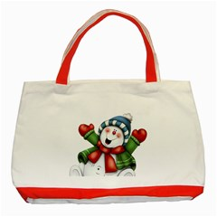 Snowman With Scarf Classic Tote Bag (red)