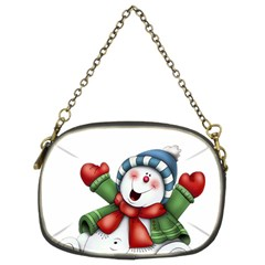 Snowman With Scarf Chain Purses (two Sides)