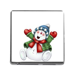 Snowman With Scarf Memory Card Reader (square)
