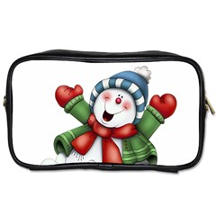 Snowman With Scarf Toiletries Bags 2 Side