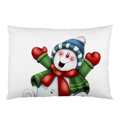 Snowman With Scarf Pillow Case (two Sides)
