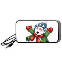 Snowman With Scarf Portable Speaker (black)