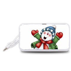 Snowman With Scarf Portable Speaker (white)