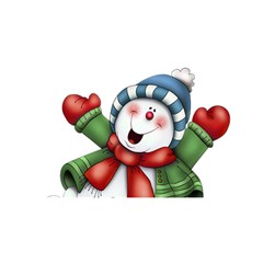 Snowman With Scarf You Are Invited 3d Greeting Card (8x4)
