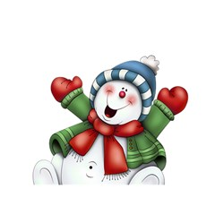 Snowman With Scarf Birthday Cake 3d Greeting Card (7x5)