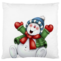 Snowman With Scarf Large Cushion Case (two Sides)