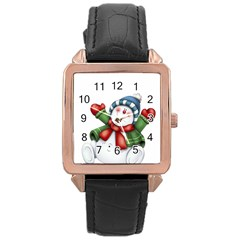 Snowman With Scarf Rose Gold Leather Watch