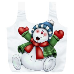 Snowman With Scarf Full Print Recycle Bags (l)