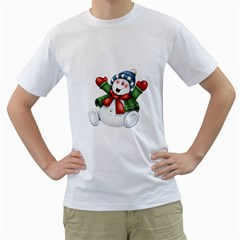 Snowman With Scarf Men s T Shirt (white)