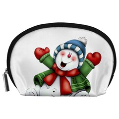 Snowman With Scarf Accessory Pouches (large)