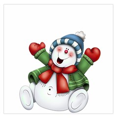 Snowman With Scarf Large Satin Scarf (square)