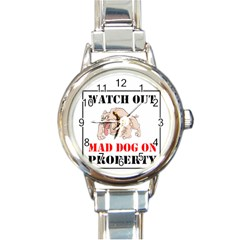 Watch Out Mad Dog On Property Round Italian Charm Watch