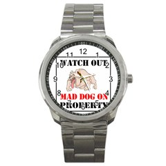Watch Out Mad Dog On Property Sport Metal Watch