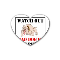 Watch Out Mad Dog On Property Heart Coaster (4 Pack)