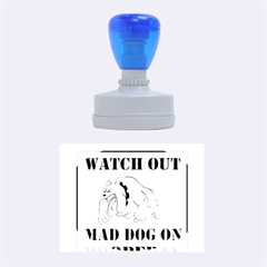Watch Out Mad Dog On Property Rubber Oval Stamps