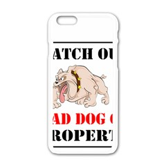 Watch Out Mad Dog On Property Apple Iphone 6/6s White Enamel Case